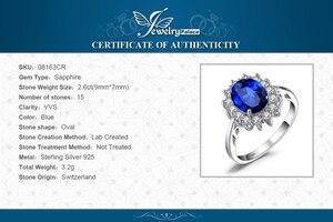 Image 5 - Jewelrypalace Gemaakt Blue Sapphire Ring Princess Crown Halo Engagement Trouwringen 925 Sterling Zilveren Ringen Voor Vrouwen 2020