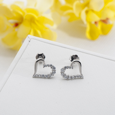 Funmor Romantic Heart Stud Earrings 925 Sterling Silver Fine Jewelry Cubic Zircon Women Lady Party Routine Ball Ornaments Gifts
