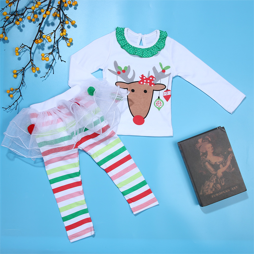 Baby Kids Girls Christmas Clothes Reindeer Long Sleeve Top+Tulle Tutu Skirt Rainbow Stripe Long Pants Outfits Baby Chrismas Gift 2015 elegant baby girls christmas reindeer top tutu tulle skirt pants 2 pc outfit set children christmas clothing