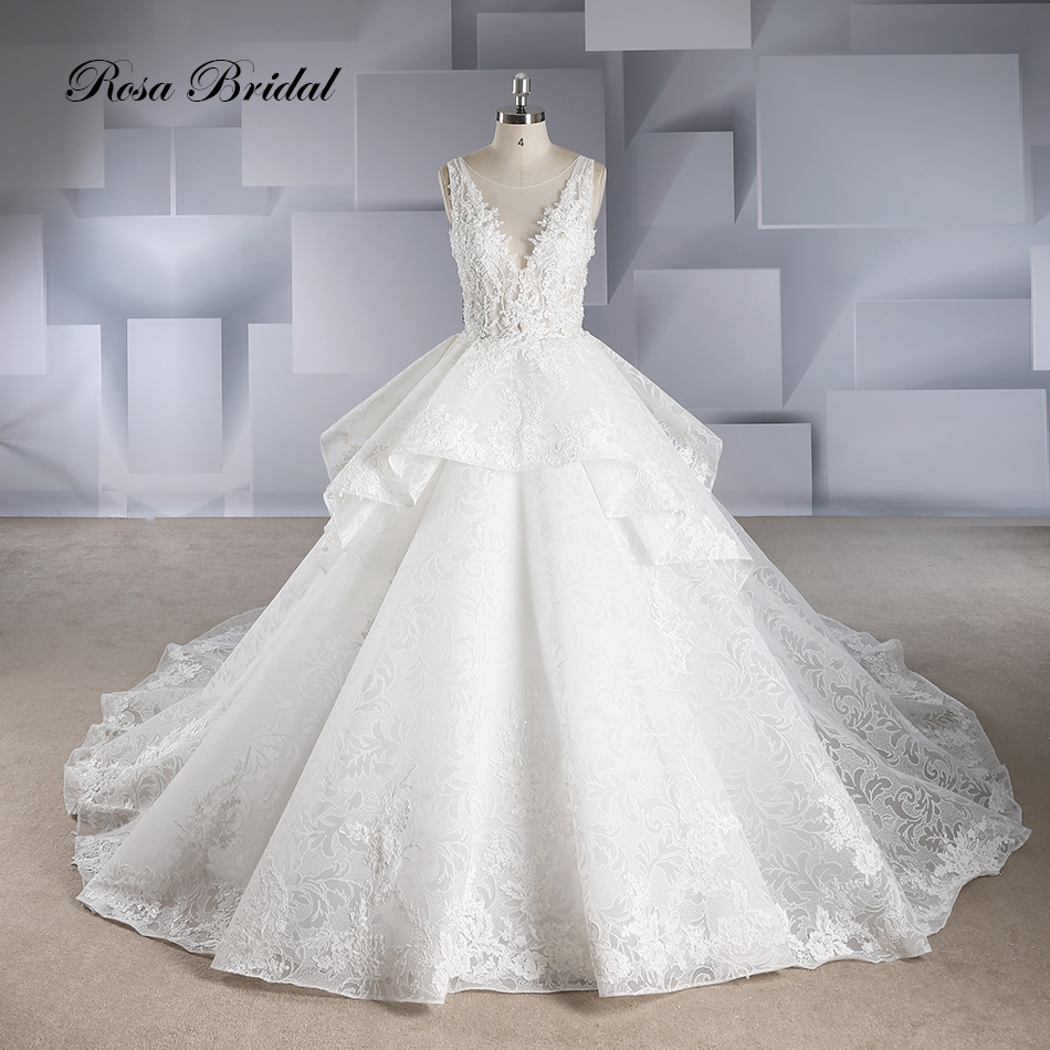 Rosabridal Ball Gown Wedding Dress Sleeveless Deep O Neck Beading Lace Appliques Embroidery Open Back  Bridal Gown With Tail