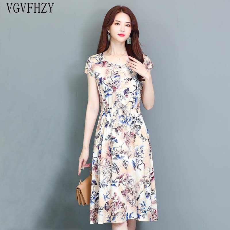 10a677e05 Detalle Comentarios Preguntas sobre Vestidos de verano nuevo 2019 de  mediana edad de moda vestido Casual manga corta Plus tamaño vestido largo