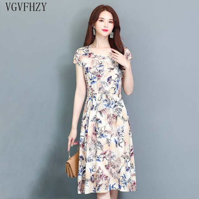 Women\'s Summer Dresses new 2019 Middle Aged Fashion Print Loose ...
