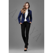 Women Business Suits Dark Blue Jacket Black Pants 2 Piece Set Blazers Formal Office Uniform Style Female Trouser Suit Custom 012