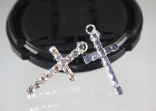 Hot New Cross Pendants Silver Plated Clear Rhinestone Charms Jewelry Finding For Earrings Bracelets Making,20pcs/16*31mm