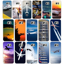 06DF Airplane At The Sunrise aircraft plane design Hard Cover Case for Samsung Galaxy S4 S5 Mini S6 S6 S8 S9 edge plus S7 Edge(China)