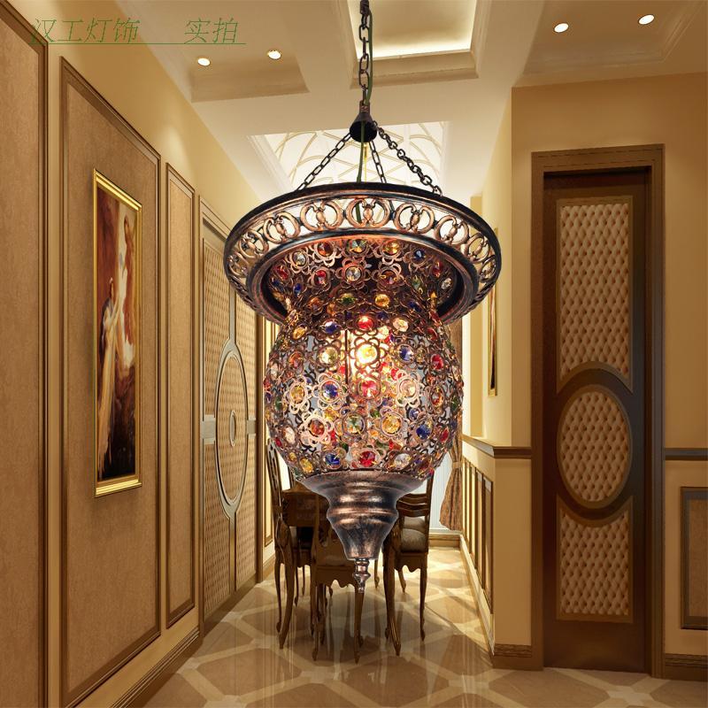Турецкая марокканской Богемия турецкий подвесной светильник Мозаика Витражи коридор, Кафе Ресторан висит лампа
