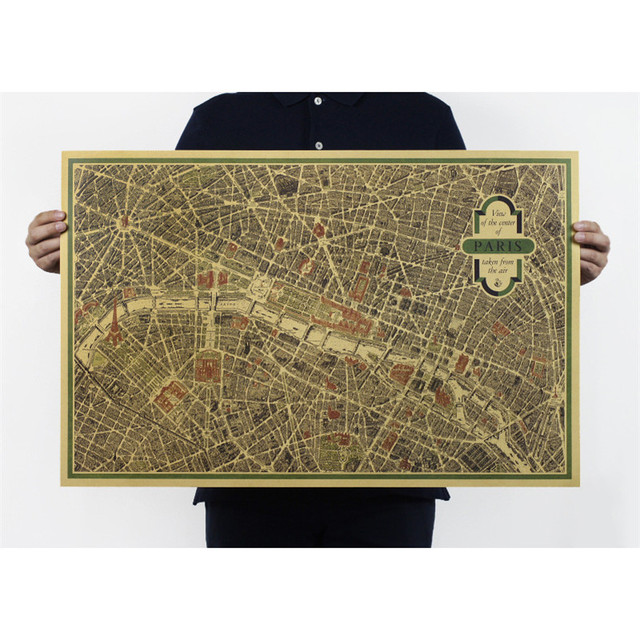 Us 339 32 Offfrancja Paryż Vintage Mapa Bary Kuchnia Rysunki Dekoracji W Stylu Vintage Plakaty Plakaty Plakat Naklejki ścienne 72x47 Cm On006 W