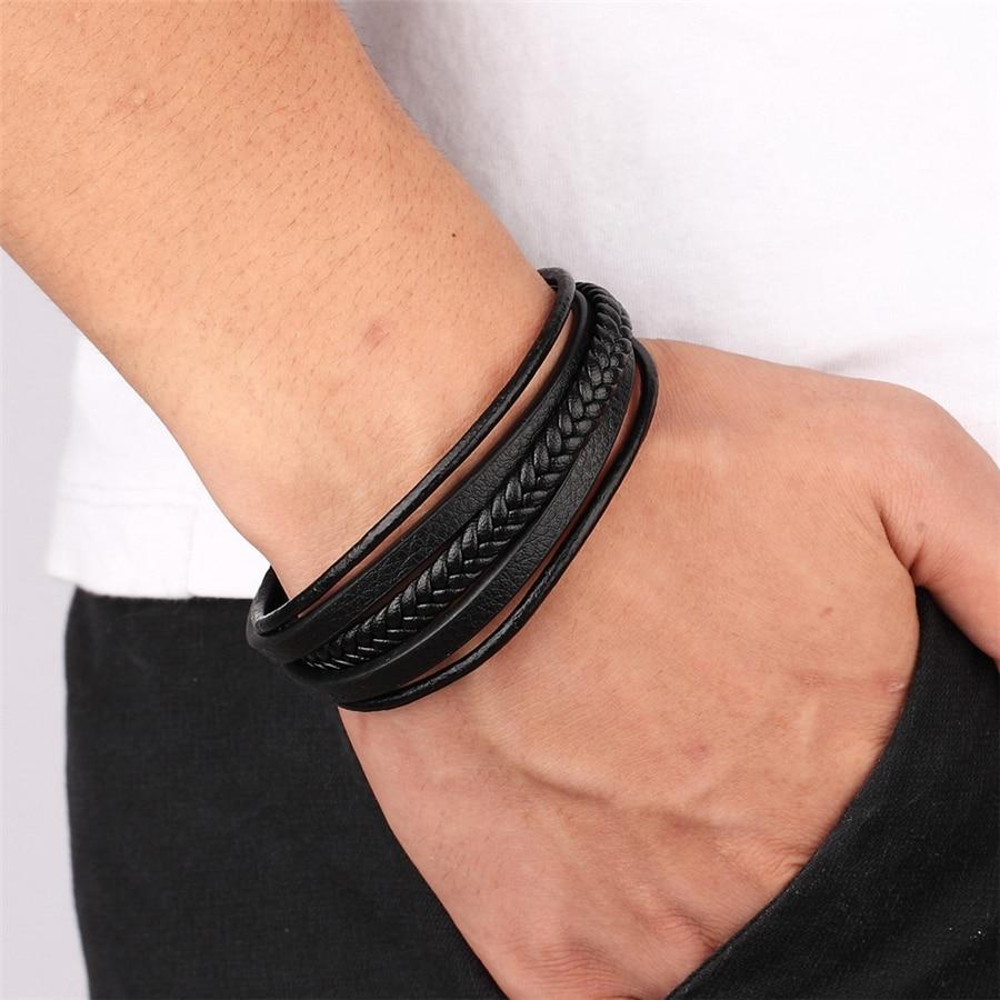 XQNI Trendy Men Jewelry Popular Black Color Genuine Leather Bracelet Multi-layer Design Charm Cuff Bangle For Handsome Boy Gift