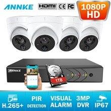 ANNKE 8CH 2MP CCTV Kamera System 3MP 5in1 H.265 + DVR Mit 4X HD 1080P Wetterfeste Dome Kamera Hause video Sicherheit Überwachung