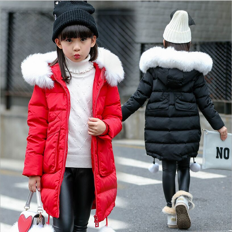 Winter Girls Jacket 2017 New Fashion Big Fur Collar Children's Winter Jackets Cotton Outerwear & Coats Pink Black Red girls winter coat volour parkas wadded jacket 2017 new fashion big fur collar cotton jackets outerwear 120 160 high quality