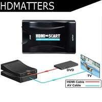 1080p HDMI scart converter kabel mit netzteil für PS4 DVD ect zu alte TV mit scart