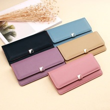 Women Wallets Leather Female Purse Ultra-thin Wallet Long Hasp Card Holder Coin Simple Fashion Ladies Clutch Solid