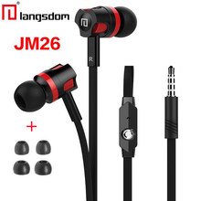 Langsdom JM26 in ear earphones earbuds with microphone Bass handsfree auriculares for iphone samsung xiaomi phone fone de ouvido(China)
