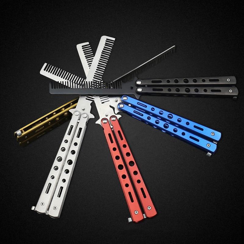 Pro Salon En Acier Inoxydable pliant couteau papillon Balisong Style Couteau Peigne Outil Noir Argent Cool Sport