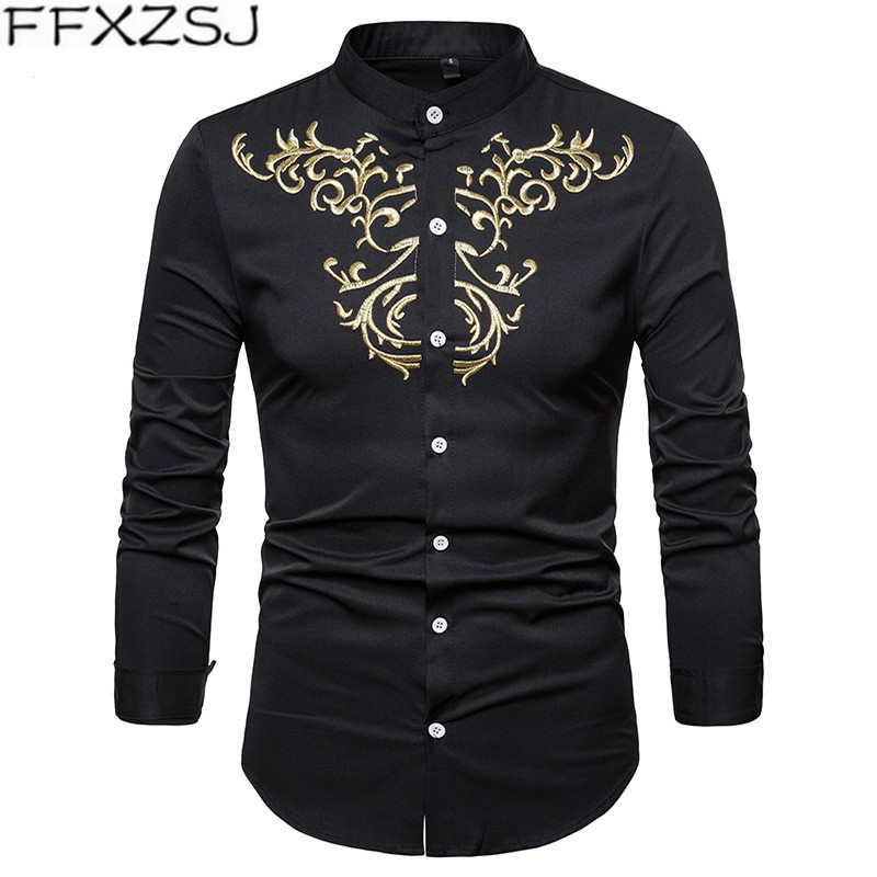 FFXZSJ Brand 2018 autumn new men's shirt embroidered Henry collar large size casual Slim long-sleeved top shirt camisa masculina Men Men's Clothings Men's Shirts Men's Tops cb5feb1b7314637725a2e7: Burgundy|black|Blue|gray|Navy blue|White