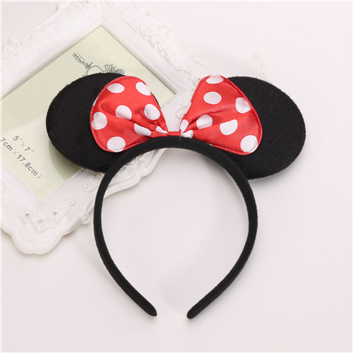 6pcs Headband  Polka Dot Bow Polka Minnie Mouse Ear Band Hair Costume Mickey Lot