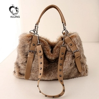 KUJING Fashion Handbag Quality Imitation Rabbit Fur Handbag Soft Plush Women Shoulder Messenger Bag Hot Travel