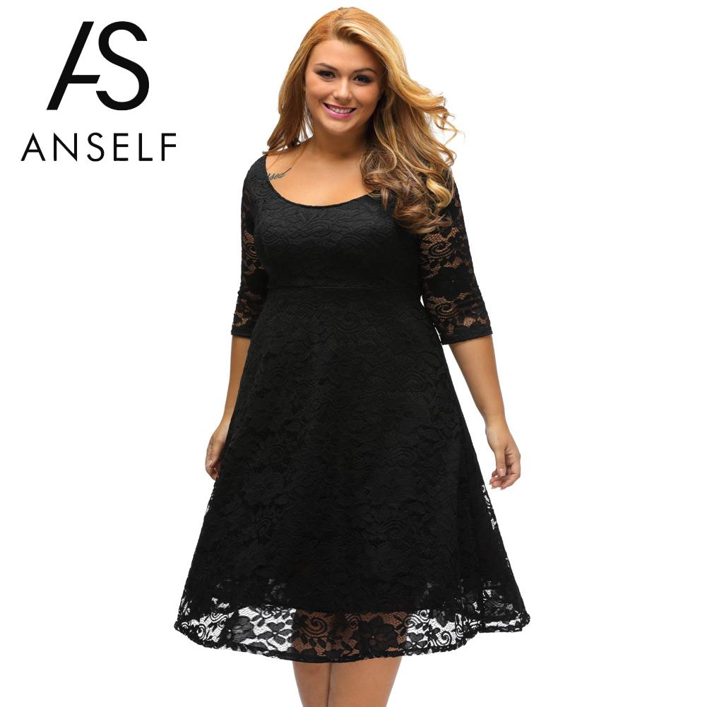 Anself autumn xxxl plus size dresses women lace dress midi for Plus size midi dresses for weddings
