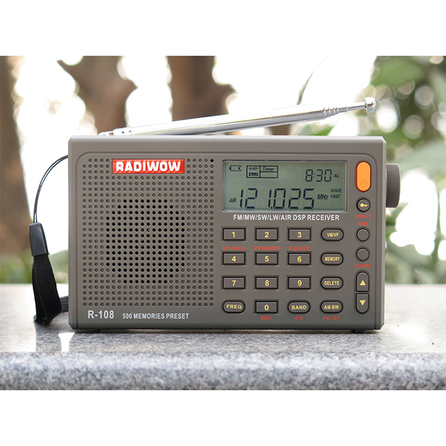 RADIWOW R-108 Radio Digital Portable Radio FM Stereo/LW/SW/MW /AIR/DSP Receiver with LCD/High quality sound for indoor&outdoor