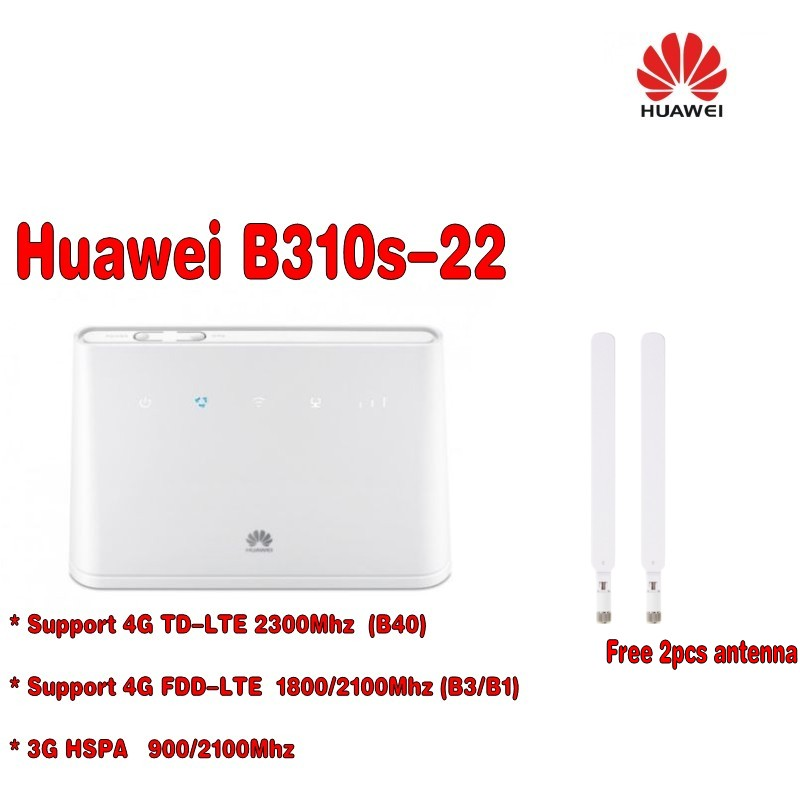 Unlocked huawei b310s-22 4G lte fdd wireless CPE router PK B593 +a pair antenna unlocked huawei b310 b310s 22 unlocked 4g lte cpe 150 mbps mobile wi fi router plus antenna