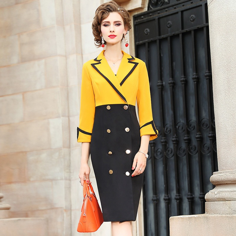 Office Lady Pencil dress Spring 2018 new Occupation Notched sexy dress Plus Size Business affairs Slim