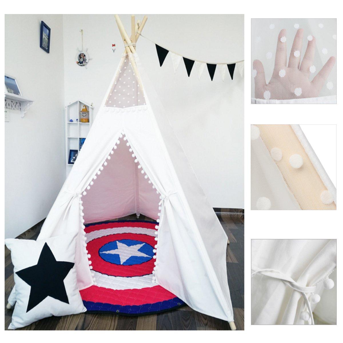 Grande toile de coton Original Tipi enfants Tipi avec blanc indien jouer tente maison enfants en plein air intérieur Tipi Tee Pee tente