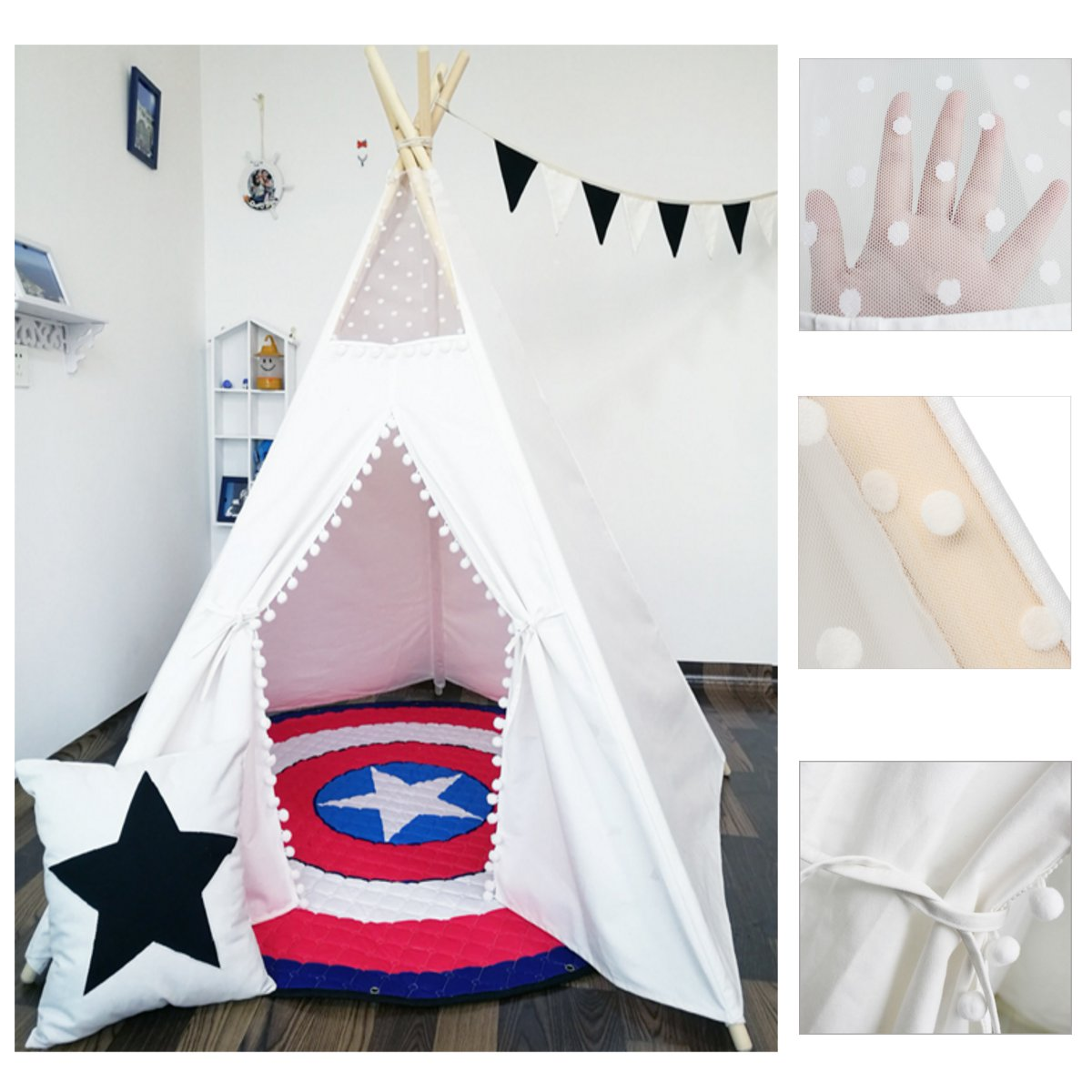 Large Cotton Canvas Original Teepee Kids Teepee With White Indian Play Tent House Children Outdoor Indoor Tipi Tee Pee TentLarge Cotton Canvas Original Teepee Kids Teepee With White Indian Play Tent House Children Outdoor Indoor Tipi Tee Pee Tent