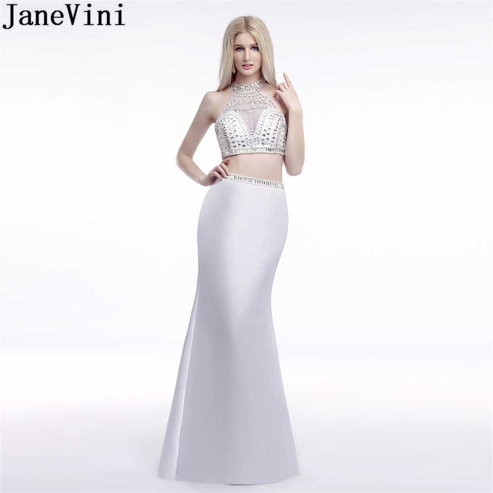 JaneVini Sexy White Mermaid Bridesmaid Dress With Silver Crystal High Neck 2 Pieces Long Prom Dresses Luxury Sequins Party Gown