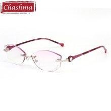Chashma Brand Women Diamond Trimmed Tint Lenses Glasses Frame Prescription Spectacles Female Fashion Colored Stones