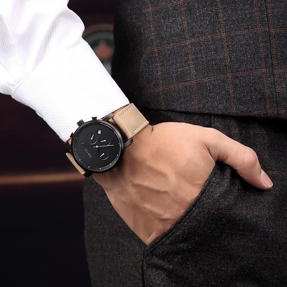 Baogela Chronograph Herren Uhren Top Brand Luxus Lederband Kinder Sport Quarz Handgelenk Uhren Multi-funktion Armbanduhr