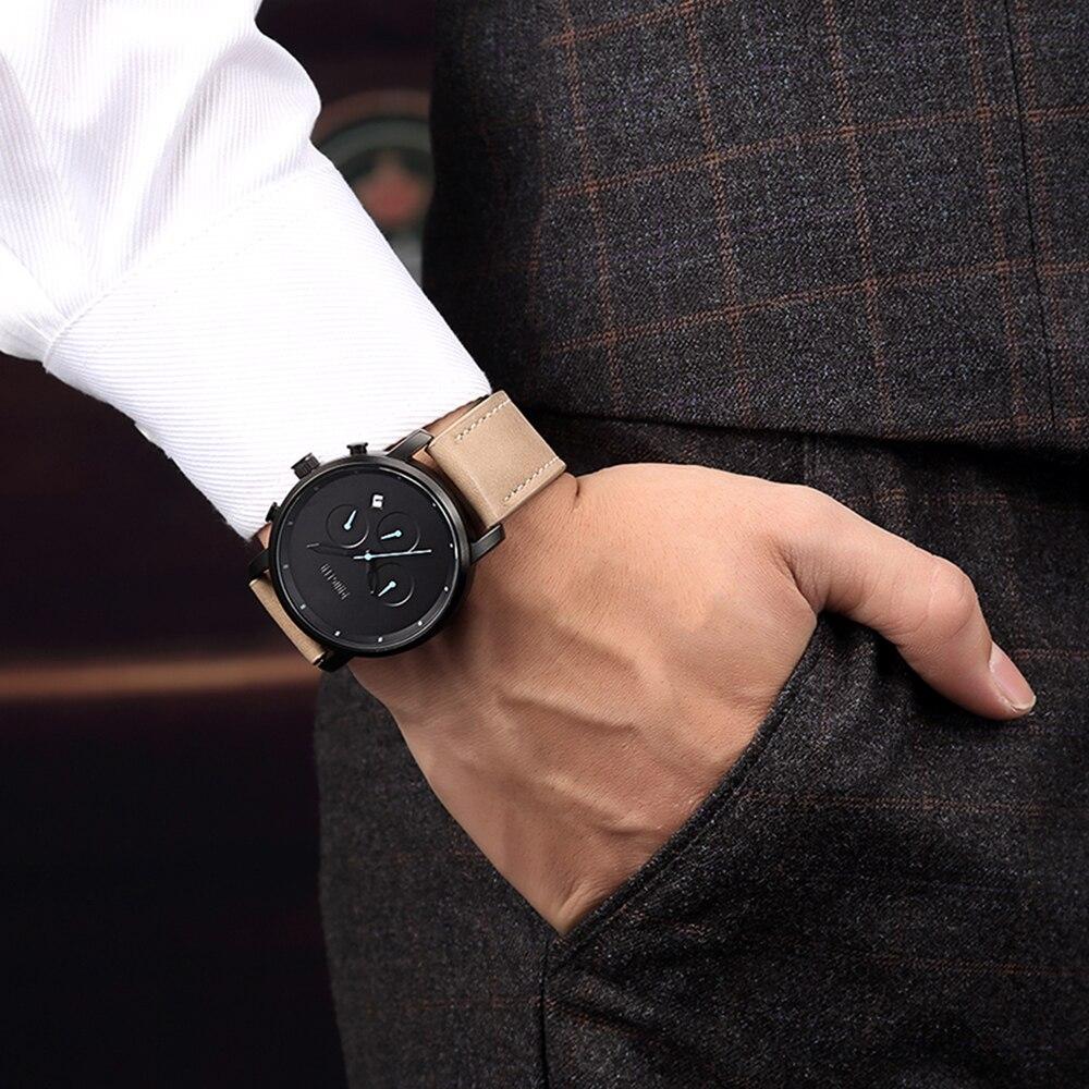 Baogela הכרונוגרף Mens שעונים למעלה מותג יוקרה רצועת עור ילדי ספורט קוורץ יד שעונים multi-פונקצית שעוני יד