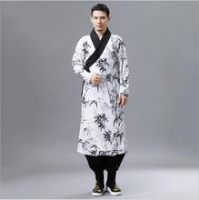 Ethnic Clothing Autumn bamboo leaf Pattern Hanfu retro Chinese Style Mens Robe printed collar China national ancient Costume
