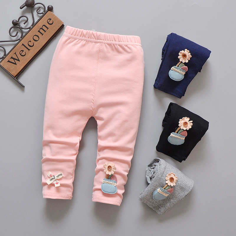 Baby pants 2018 spring new flower cotton comfortable female baby girls pants 0-3 years children trousers leggings