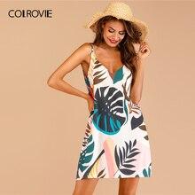 COLROVIE, платье на бретельках с тропическим принтом, прямое, бохо, на бретельках, женское,, летнее, без рукавов, для отпуска, Цельнокройное, сексуальное, мини-платье