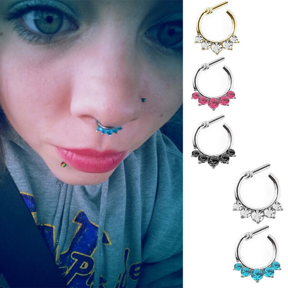 Punk Sexy Nose Ring Rhinestone Nose Ring Fake Septum Piercing
