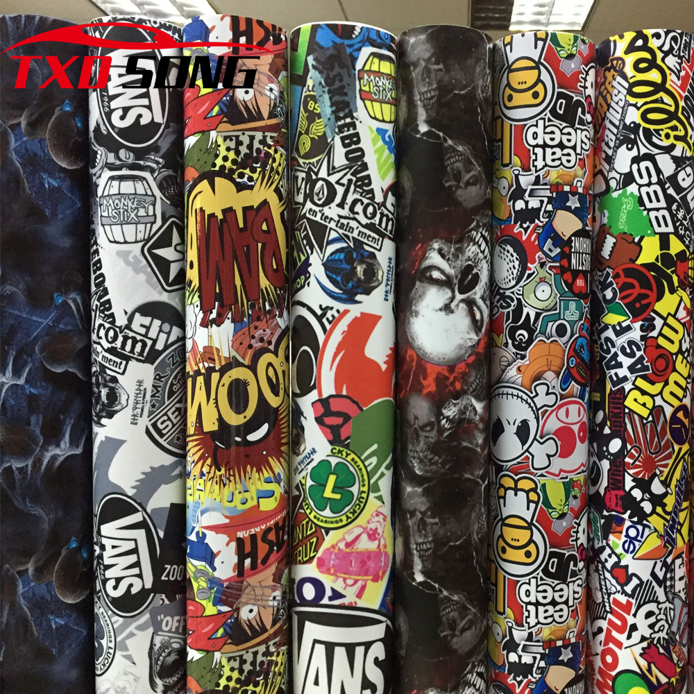 New Sticker Bomb Vinyl Wrap StickerBOMB Adhesive Cartoon Skull JDM Printed Racing Motorcycle Bike Scooter Bomb Wrapping Film