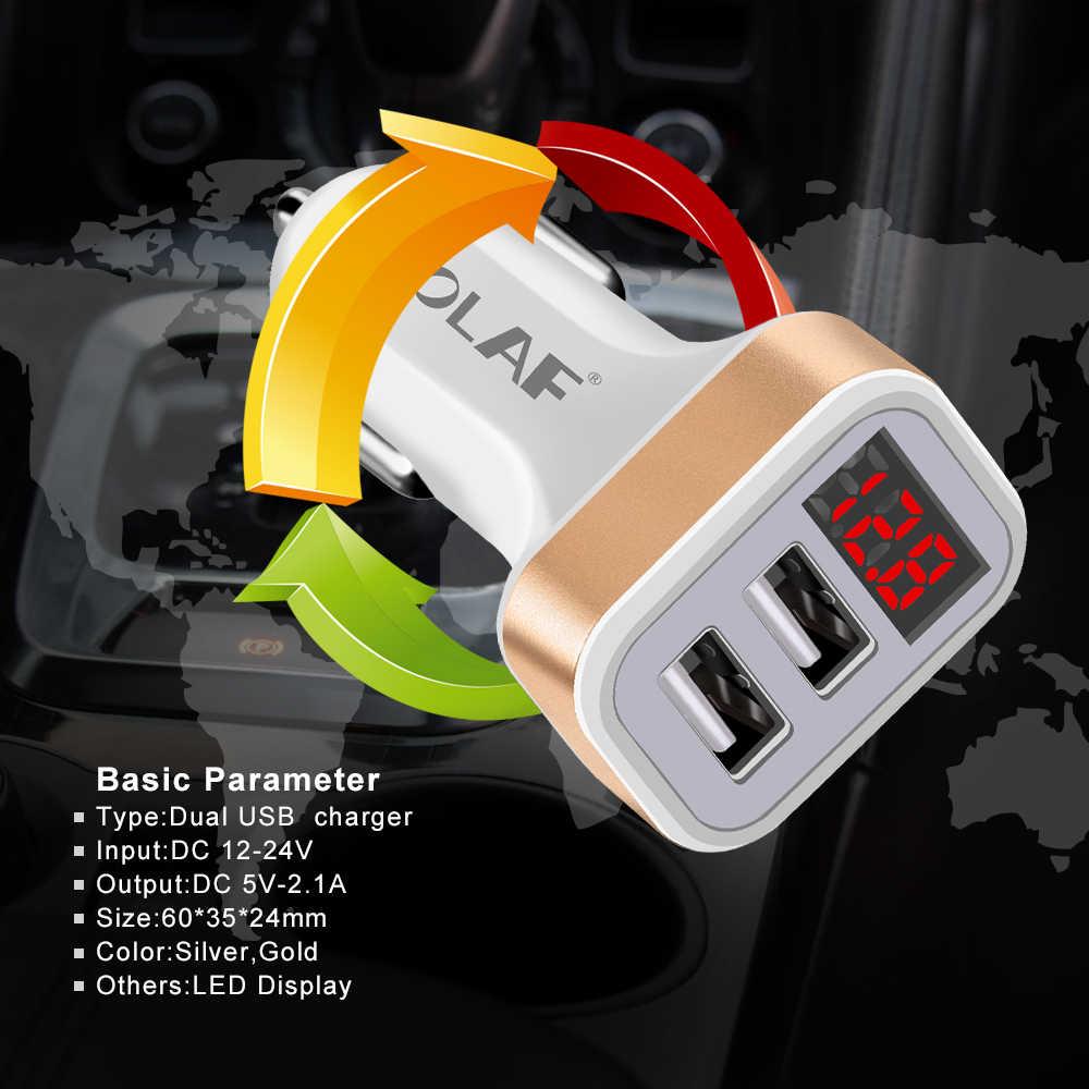OLAF Dual USB Caricabatteria Da Auto LED Display Digitale GPS Auto Adattatore di Carica USB Caricabatterie Per Samsung Xiaomi Tablet Auto Veloce -Charger