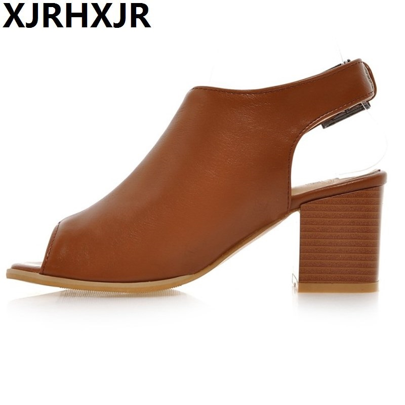 Summer Style Women Sandals Thick High Heel Sandles Open Toe Female Sandals Fish Head Fashion Ladies Shoes Black White summer causal open toe buckle high heeled thick waterproof platform sandals for women