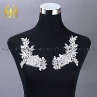 FZD 1 Pair Elegant Handmade beads Applique Stone Patches with Gauze for Dress and Evening Dress Dance Cloth patch for women