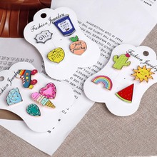 DoreenBeads Enamel Pins Brooches Plants Cactus Watermelon Rainbow Cartoon Metal Badges Clothes Accessories Jewelry Gift 1Set