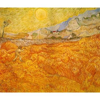 Wheat Field behind Saint Paul Hospital with a Reaper by Vincent Van Gogh Reproduction oil painting Canvas Handmade High quality