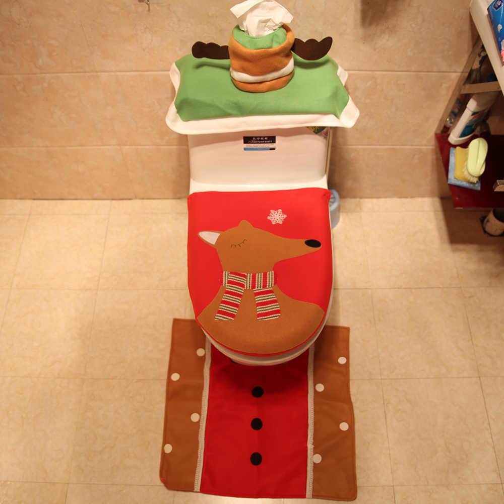 المرحاض مقعد صندوق المناديل الورقية غطاء سترة غطاء و السجاد مجموعة عيد الميلاد الأسرة عطلة الديكور ، 3 قطع