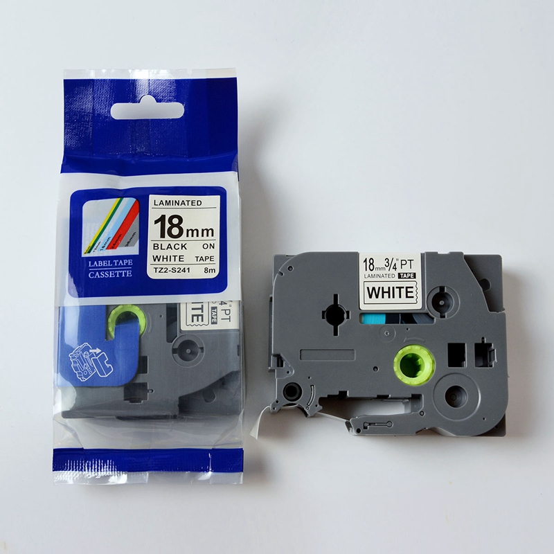 Compatible 18mm tze s241 tz s241 tz s241 White strong adhesive tape cartridge used for p