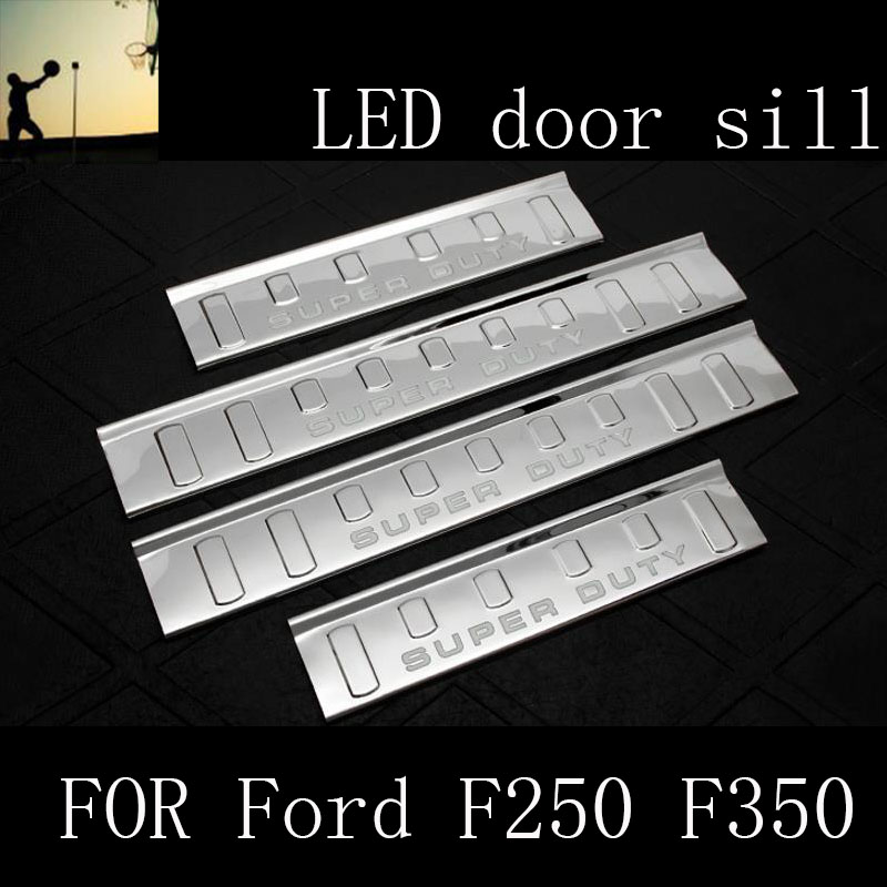 FOR Ford F250 F350 super duty 2009 2010 2011 2012 2013 2014 2015 stainless steel scuff LED door sill accessories Car Styling window rain deflector visor super 4pcs set vent shade sun guard shield for infiniti fx 35 37 50 2009 2010 2011 2012 2013