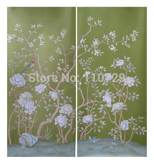 Customized wall paper Hand-painted silk wallpaper painting Cherry with bird hand painted wallcovering many pictures optional