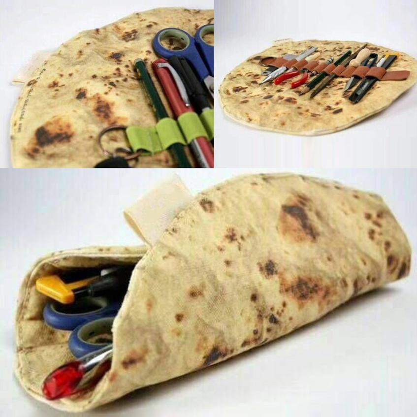 Latest Imitation Pancake Pizza Stationery Tool Rolled Collection Bag Novelty Cosmetic Bag Makeup Brush Bag