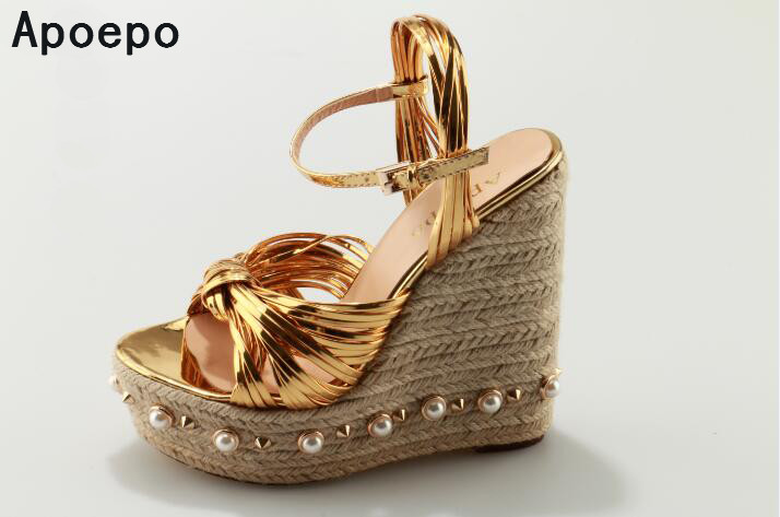 Luxury women shoes wedges sandals rivet and preals decoration ladies party fashion gold sandals platform shoes buckle strap new fashion women high platform wedge sandals open toe buckle strappy gold rivet sandals ladies casual and party shoes sandals