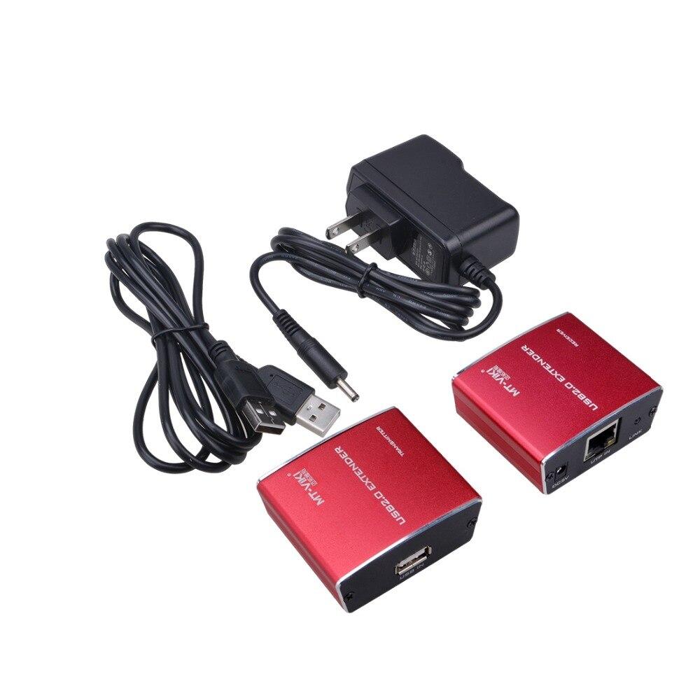 Iseebiz 100 mUSB 2.0 Extender sur RJ45 Cat5 Chat 5e Cat6 LAN UTP Câble Extendion Boîtier En Alliage D'aluminium USB Répéteur jusqu'à 330 ft