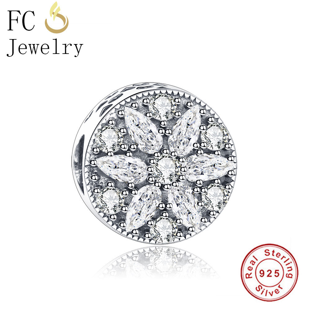 FC Jewelry 100% 925 Sterling Silver Beads Radiant Flower Bloom Charms With Clear CZ Fit Original Pandora Charm Bracelet DIY Gift