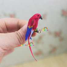 Parrot Macaw Red Blue Long-tailed Mini Birds Animal Pets for Bjd Barbie Dolls 1 12 Scale Dollhouse Miniatures accessories